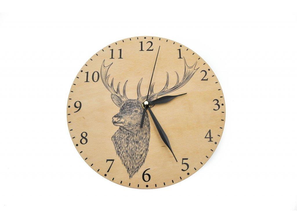 Dřevěné hodiny - jelen