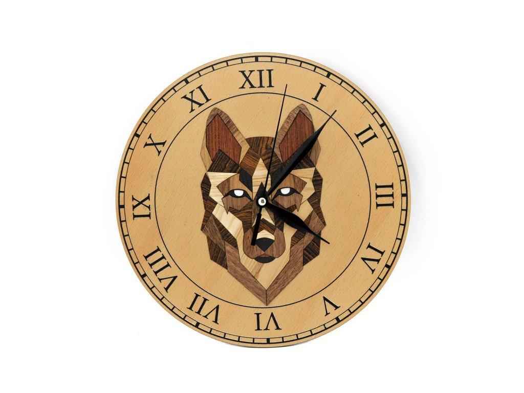 Dřevěné hodiny - vlk