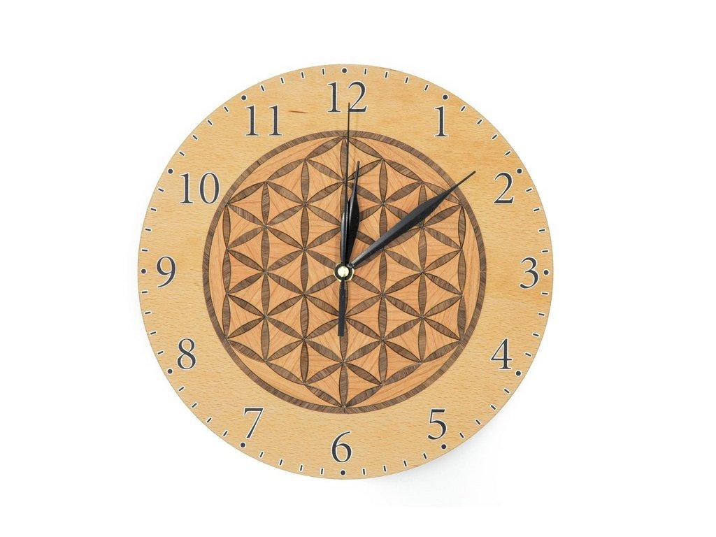 Dřevěné hodiny - květ života světlý