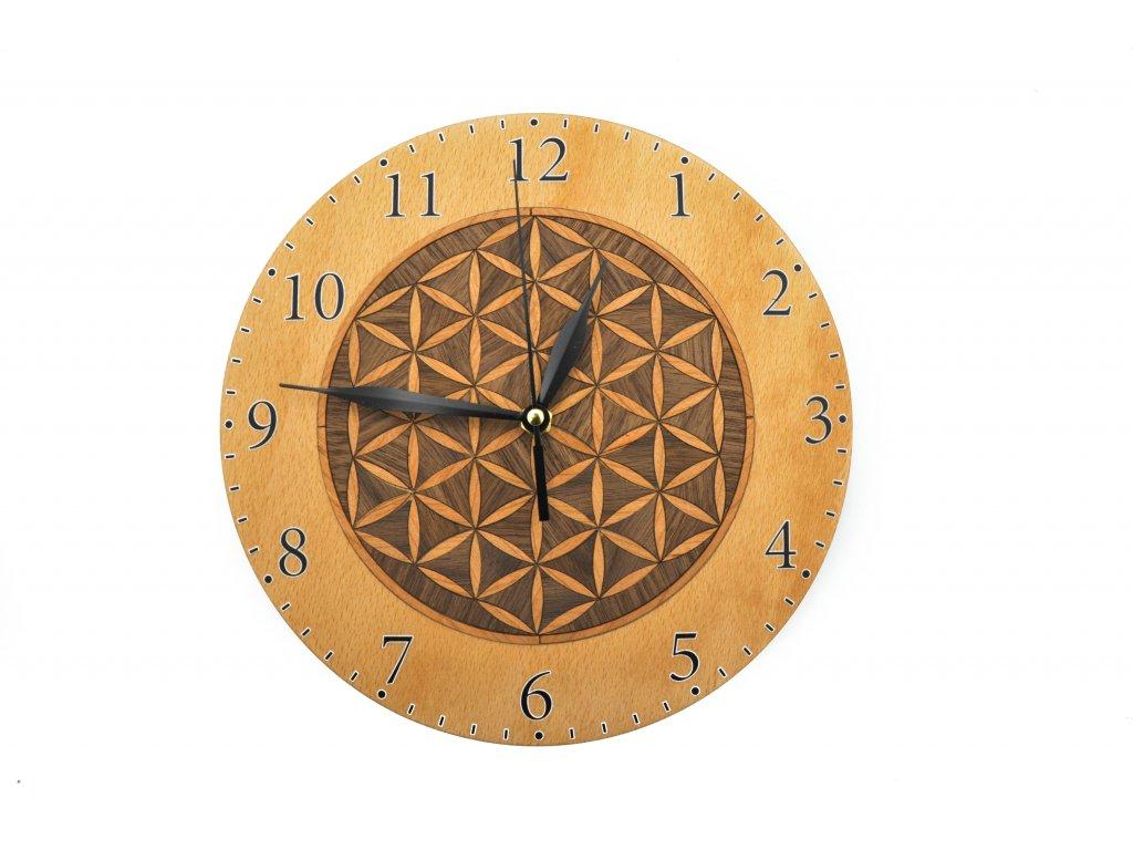Dřevěné hodiny - květ života tmavý