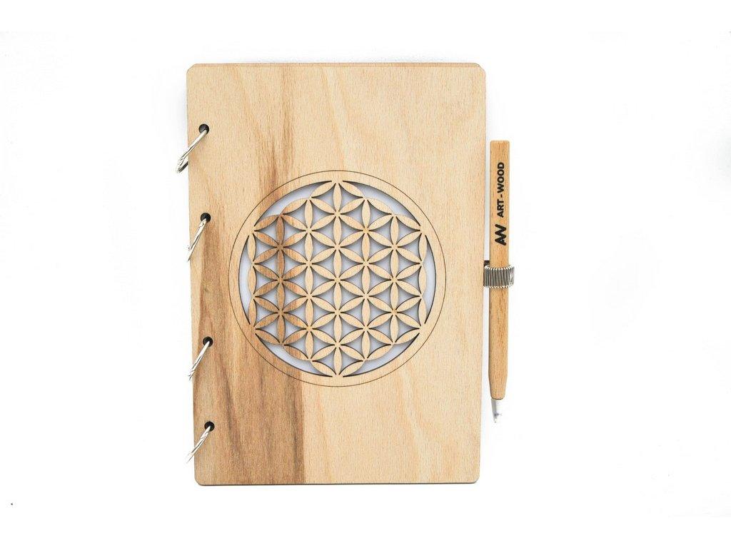 Dřevěný zápisník - květ života