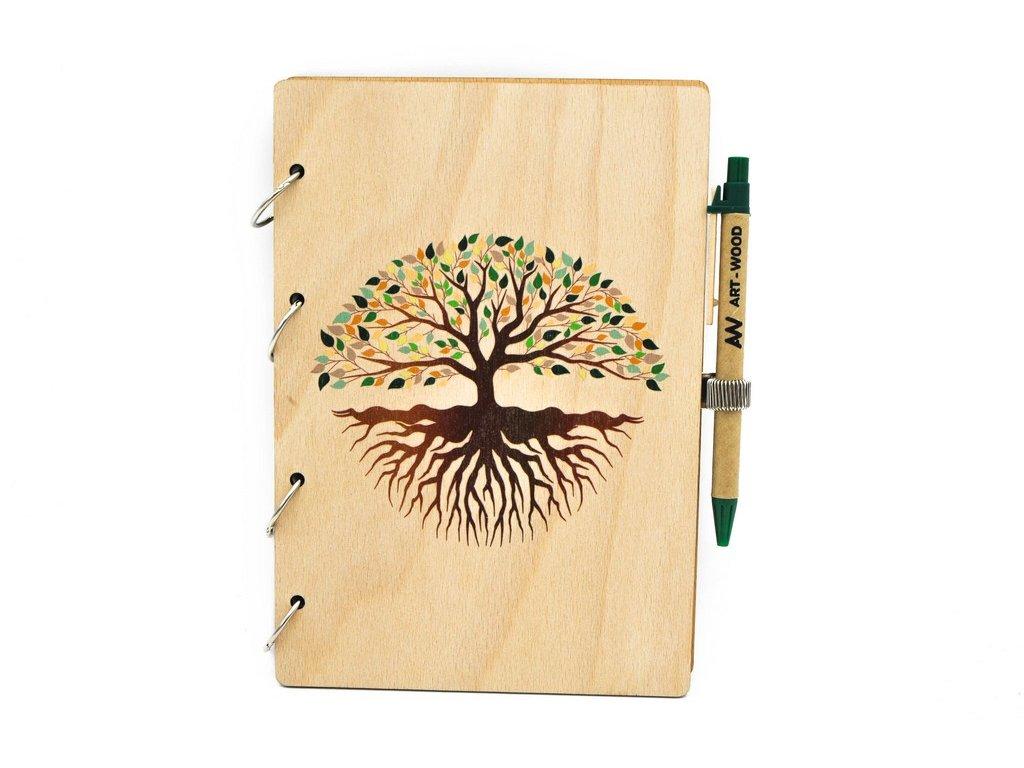 Dřevěný zápisník - strom života