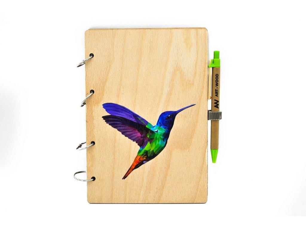 Dřevěný zápisník - kolibřík