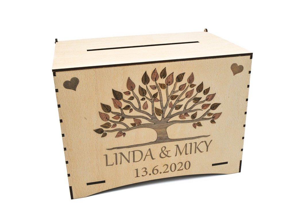 Dřevěná svatební dekorace - truhla na přání