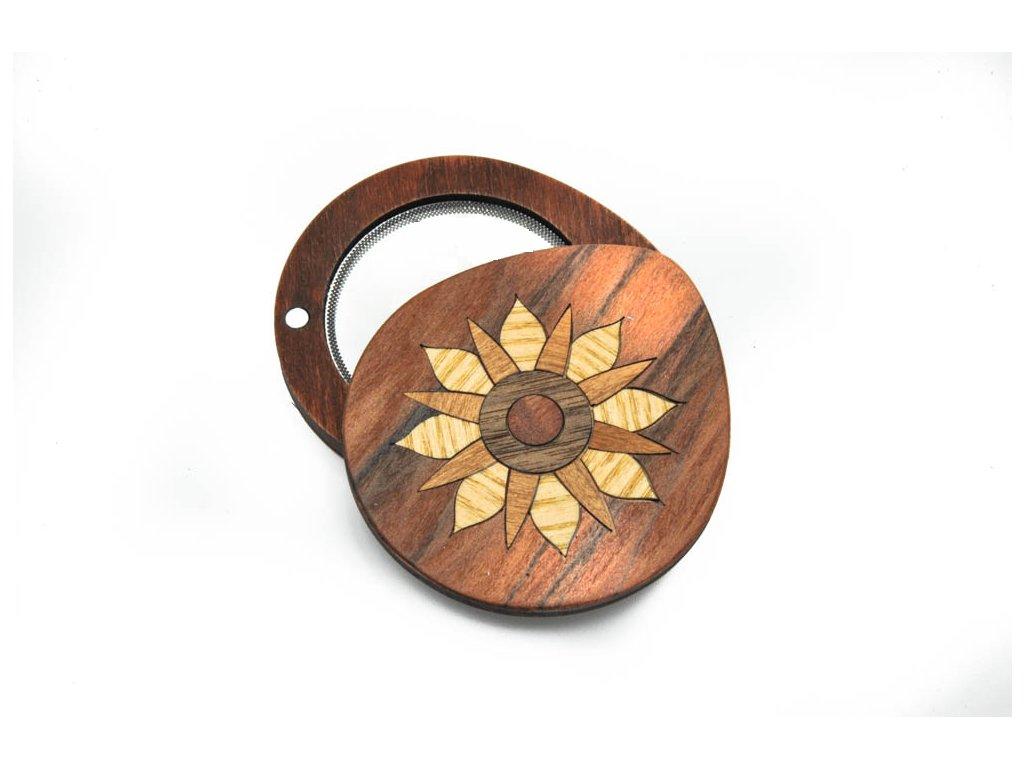 Dřevěné zrcátko - květ 2