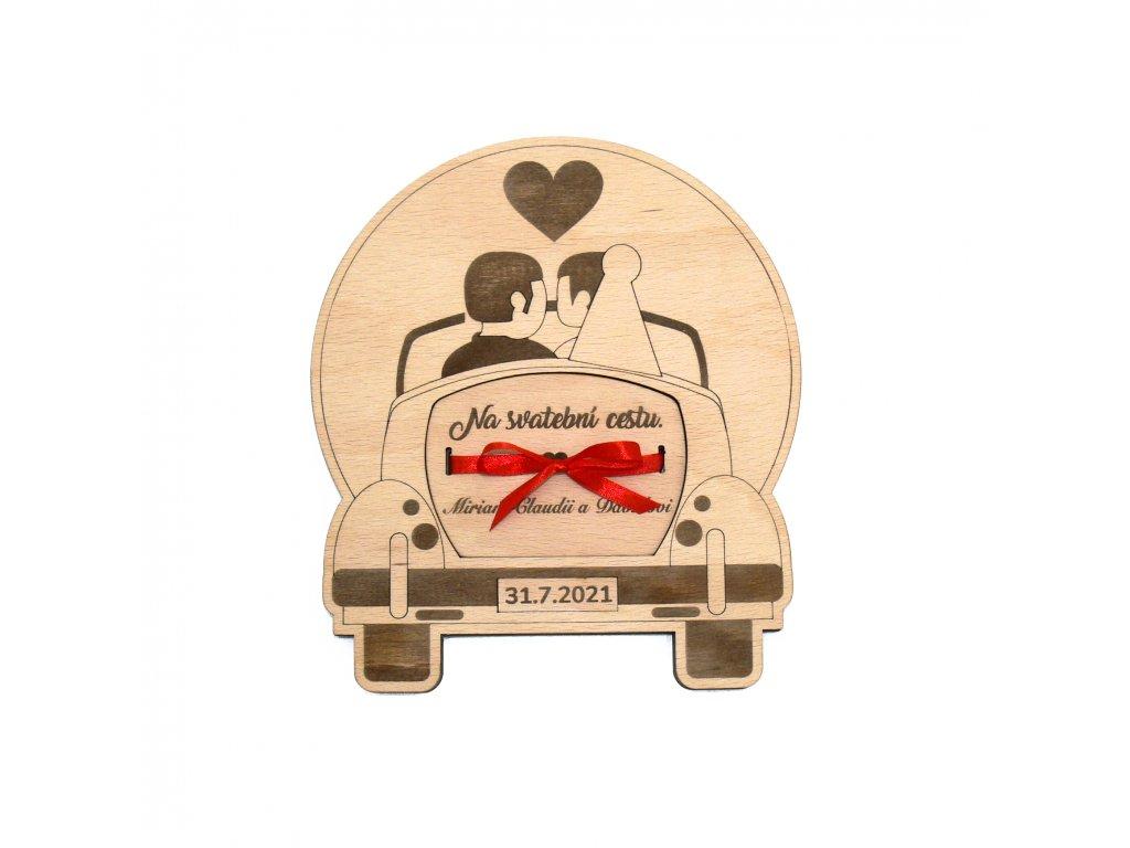 Dřevěné svatební auto na peníze