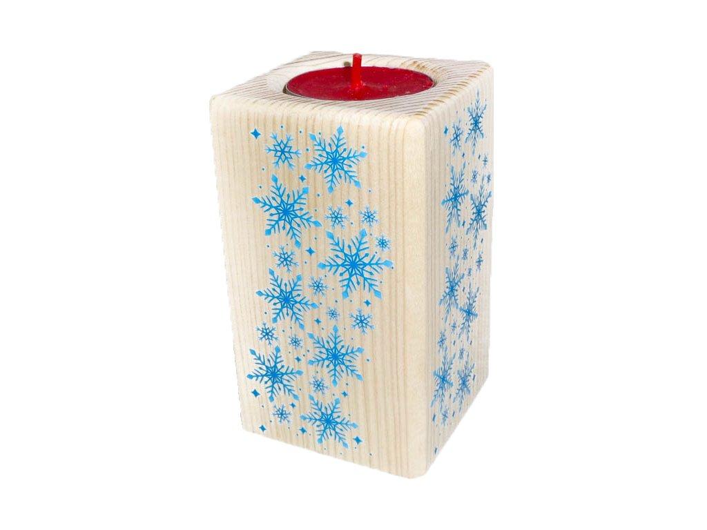 """Dřevěný svícen """"Sněhové vločky"""""""
