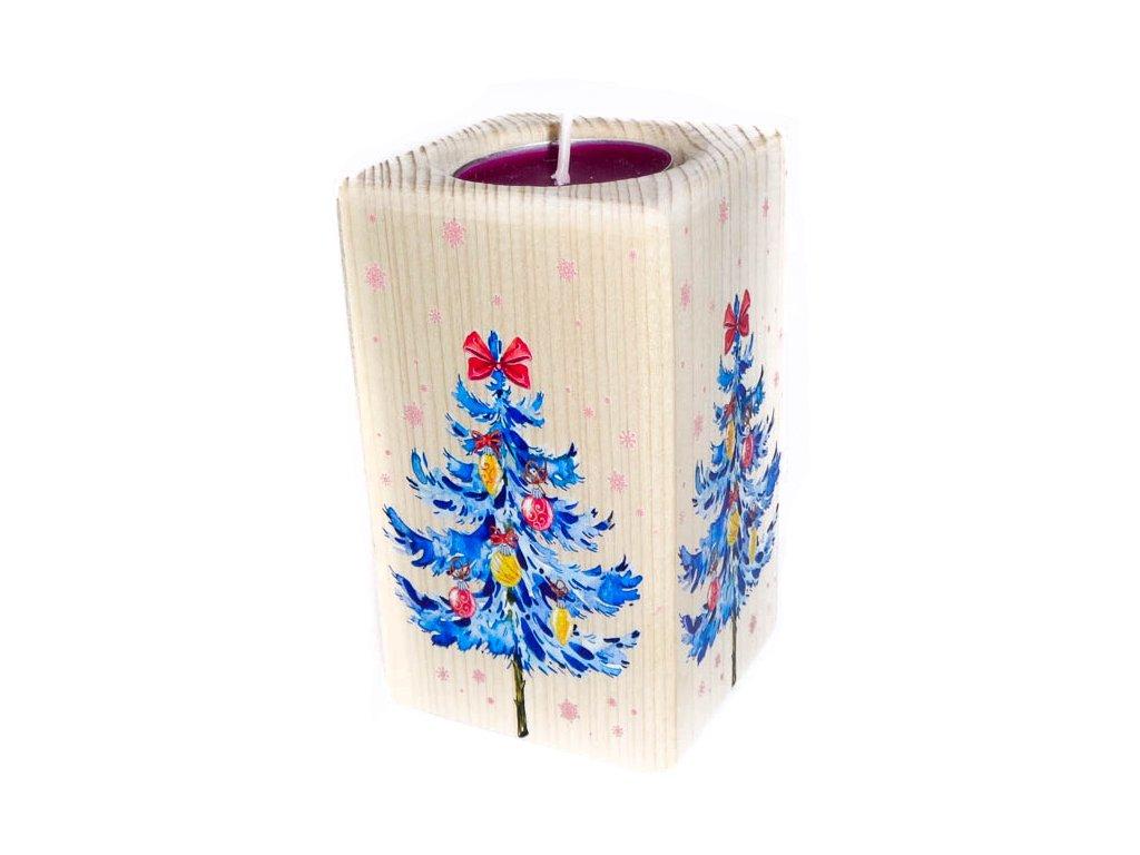 """Dřevěný svícen """"Vánoční strom"""""""