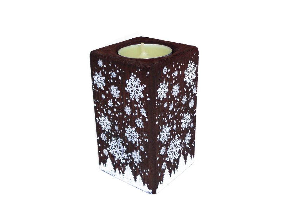"""Dřevěný svícen """"Zasněžená zima"""""""