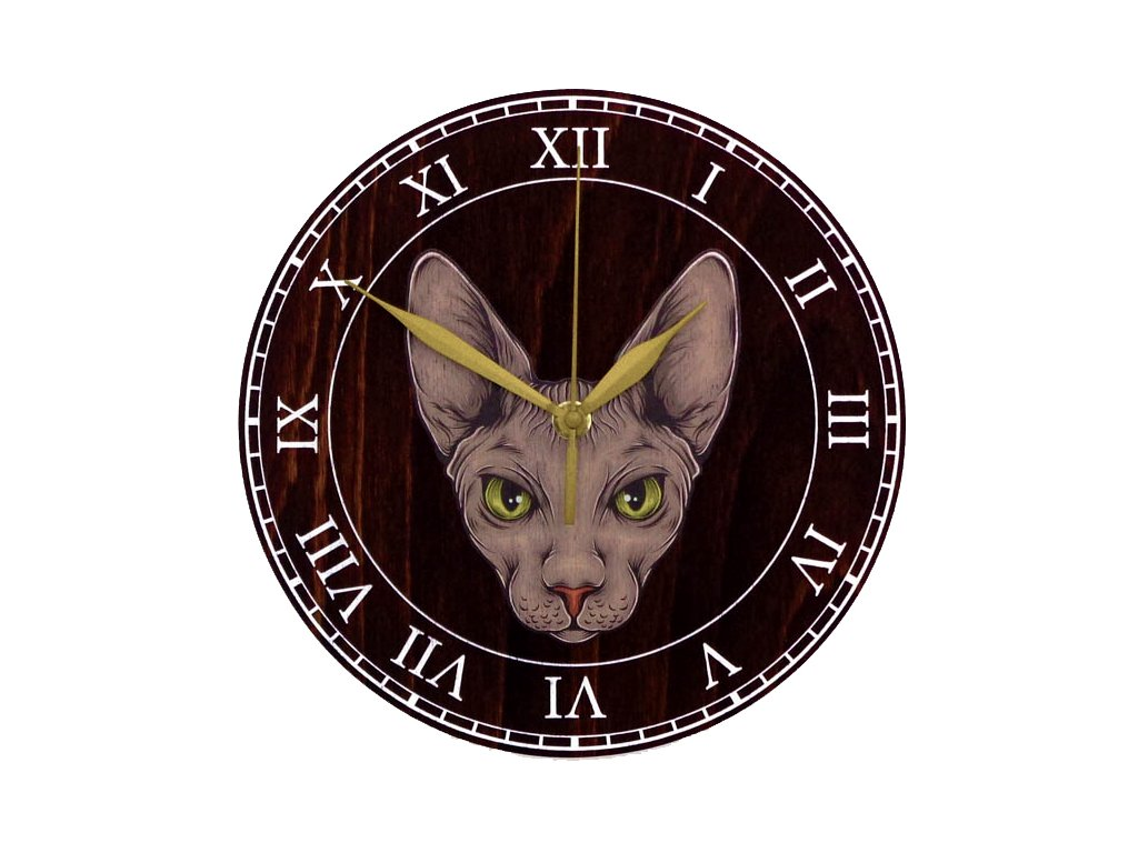 Dřevěné hodiny - kočka SPHYNX