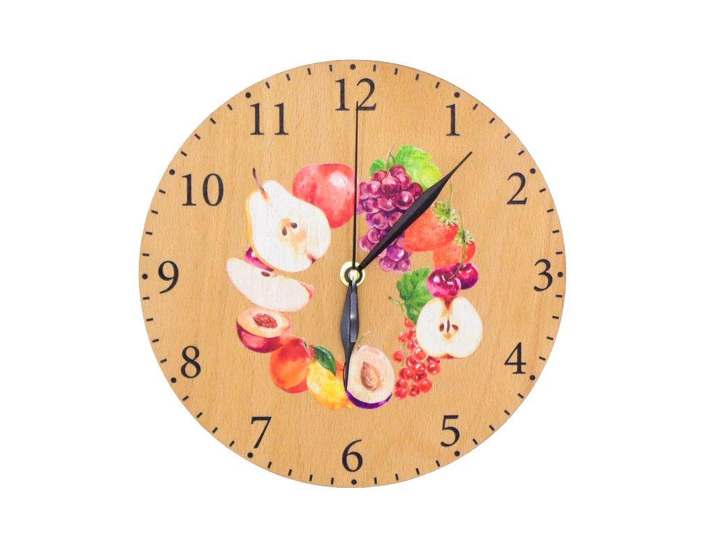 Dřevěné hodiny - ovoce