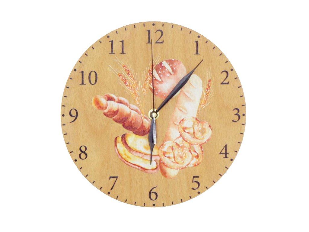 Dřevěné hodiny - pečivo