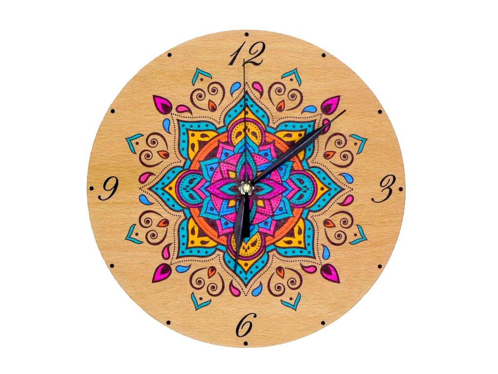 Dřevěné hodiny - mandala