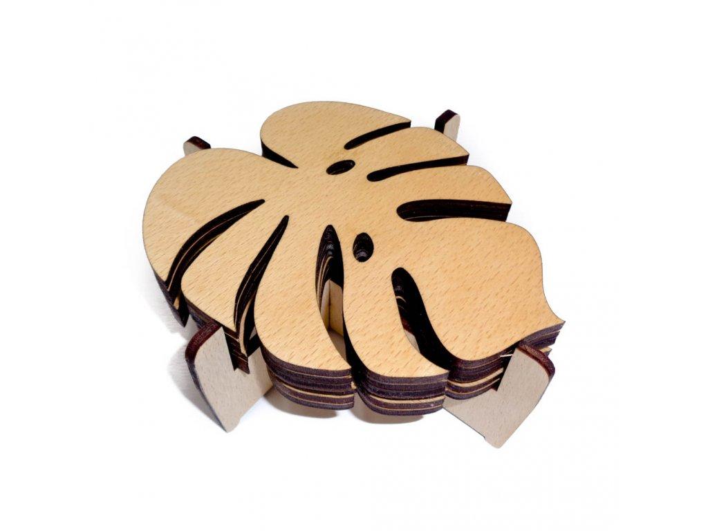 Dřevěné podtácky - monstera