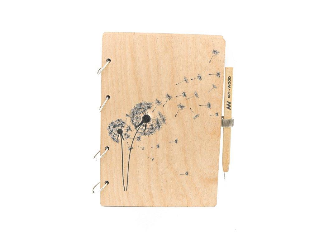 Dřevěný zápisník s věnováním - pampeliška