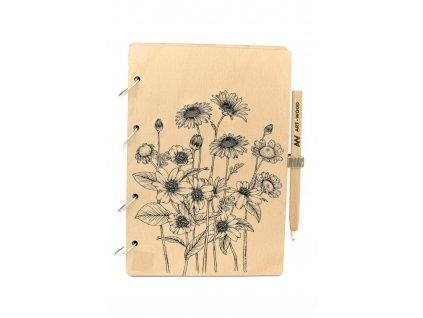 Dřevěný zápisník - luční kvítí