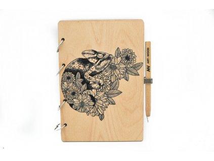 Dřevěný zápisník - chameleon