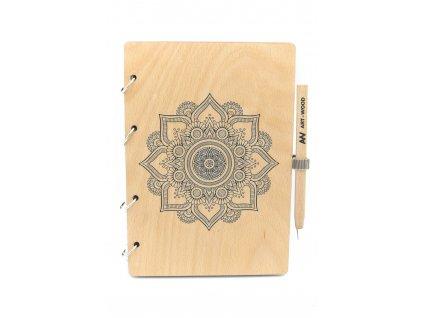 Dřevěný zápisník - mandala