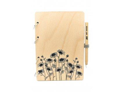 Dřevěný zápisník - květ starček