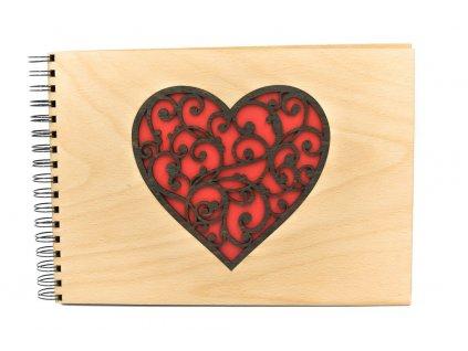 Dřevěné fotoalbum - srdce