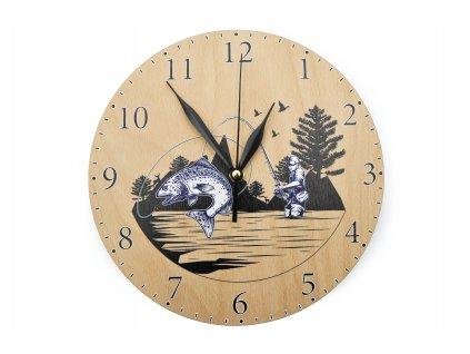 Dřevěné hodiny - rybář