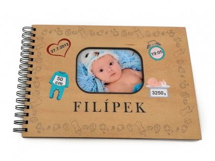 Dřevěné fotoalbum - narození dítěte