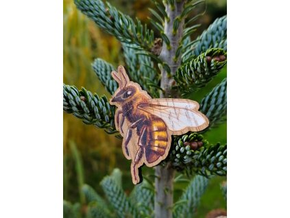 Dřevěná brož - včela
