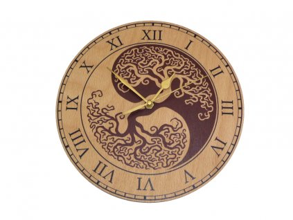 Dřevěné hodiny - Jin a Jang + strom života