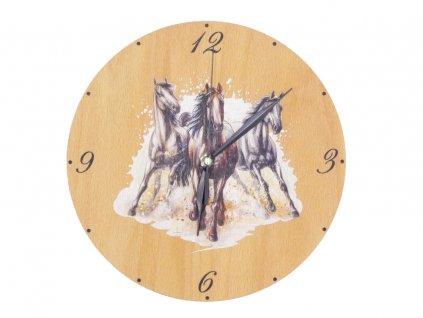 Dřevěné hodiny - koně
