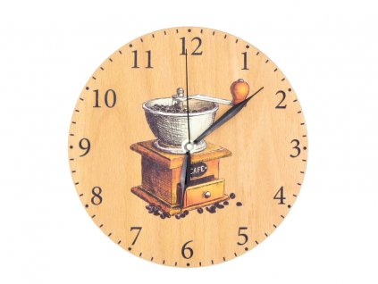 Dřevěné hodiny - káva
