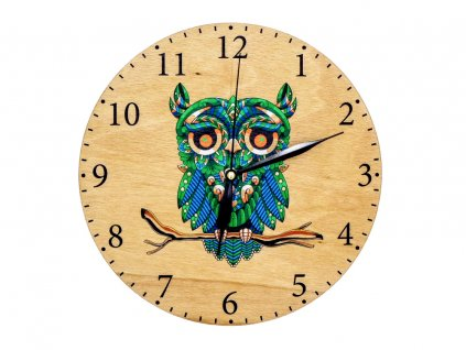 Dřevěné hodiny - sova