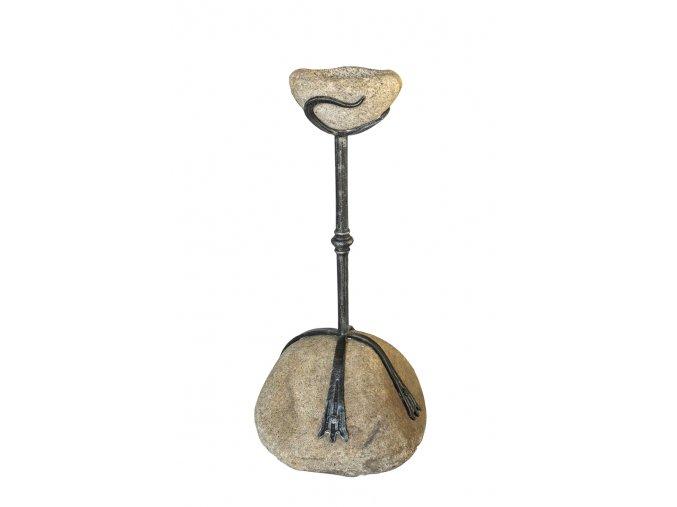 Kovaný popelník na kameni,  velikost 1060 mm