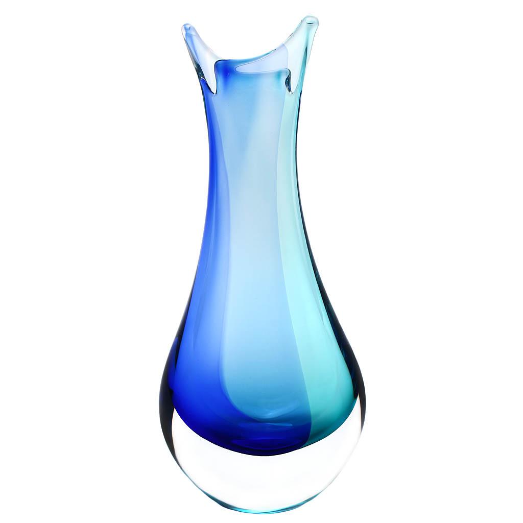 Skleněná váza 09 AQUA - modrá a tyrkysová