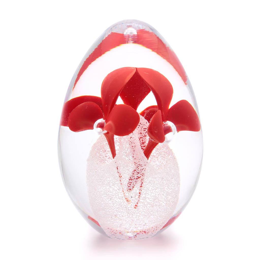 Skleněné těžítko vajíčko, dekor 04, červená