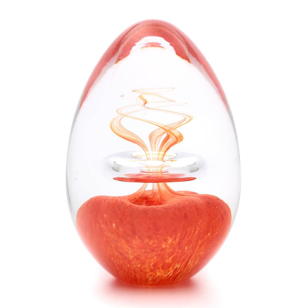 Skleněné těžítko vajíčko, dekor 03, červená