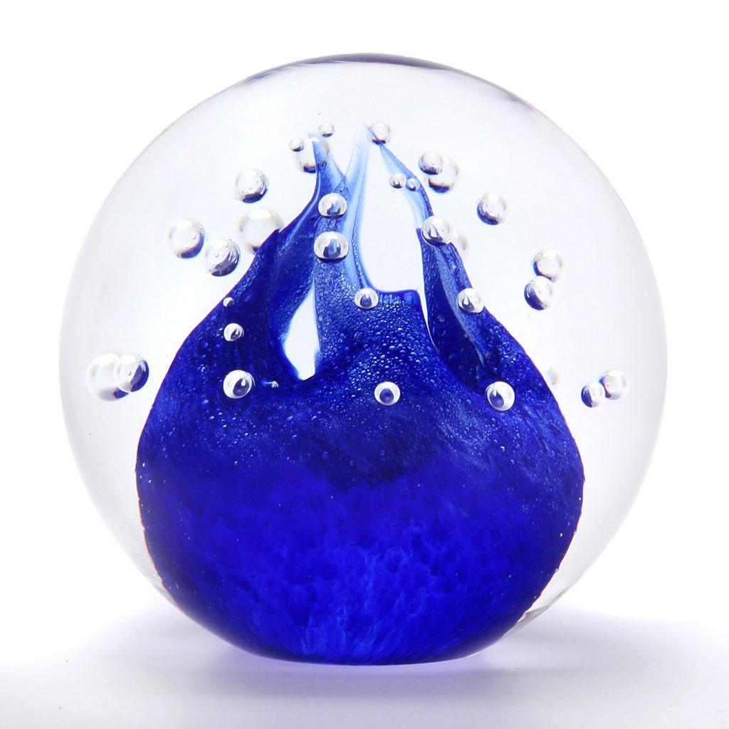 Skleněné těžítko koule, dekor 02, modrá