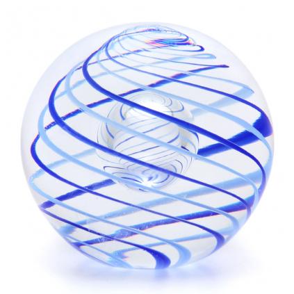 Skleněné těžítko koule, dekor 01, modrá a modrá světlá