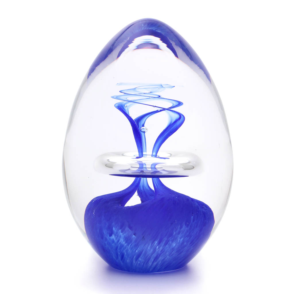 Briefbeschwerer aus Glas Eiform Dekor 03, Blau