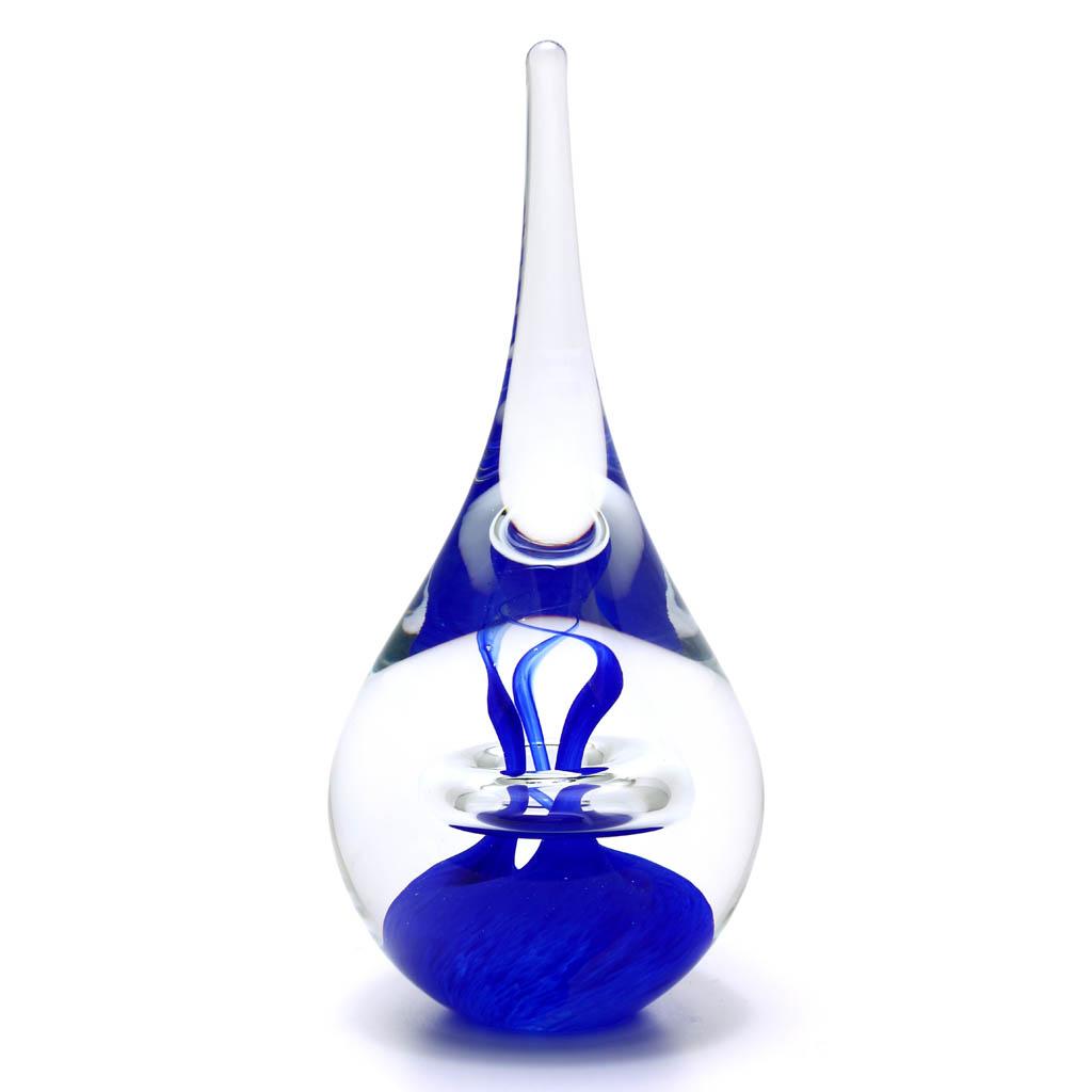 Briefbeschwerer aus Glas Tropfenform Dekor 03, Blau