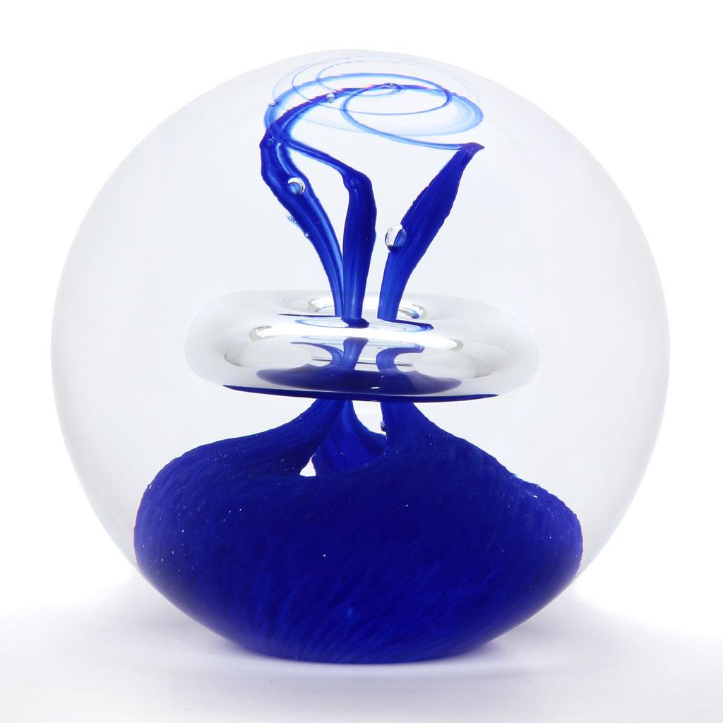 Briefbeschwerer Glaskugel Dekor 03, Blau
