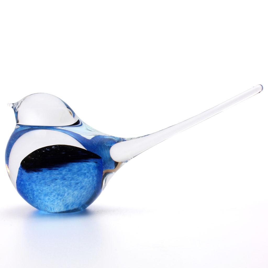 Glasskulptur von Tieren, Glasfigur  Vogel, Hellblau / Schwarz