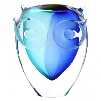 Glasskulptur von Tieren, Glasfigur  Eule AQUA - Blau und Türkis