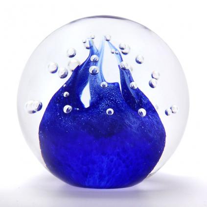 Briefbeschwerer Glaskugel Dekor 02, Blau
