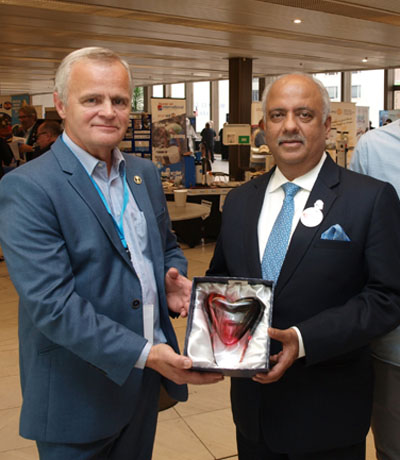 Glass gift to Rotary International President.