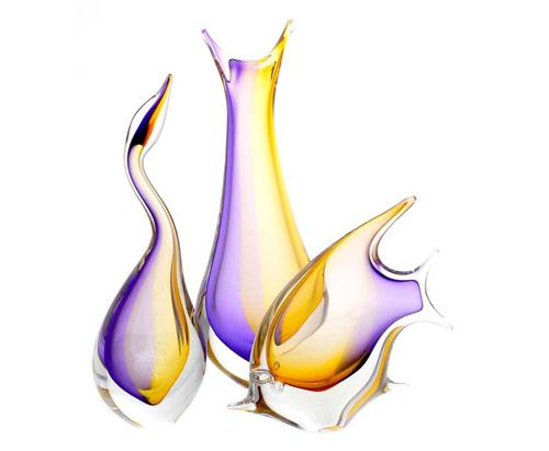 Kolekce ELEGANT - České ručně tvarované skleněné vázy, zvířata a objekty v kombinaci barev zlatý topaz a ametyst.