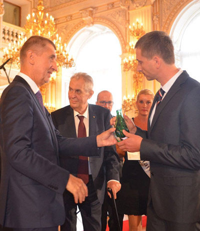 Our glass pieces as an award from the Czech President and Prime Minister.
