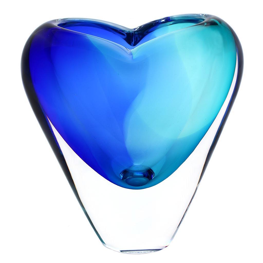 Art Glass Vase 08, AQUA - Blue and turquoise