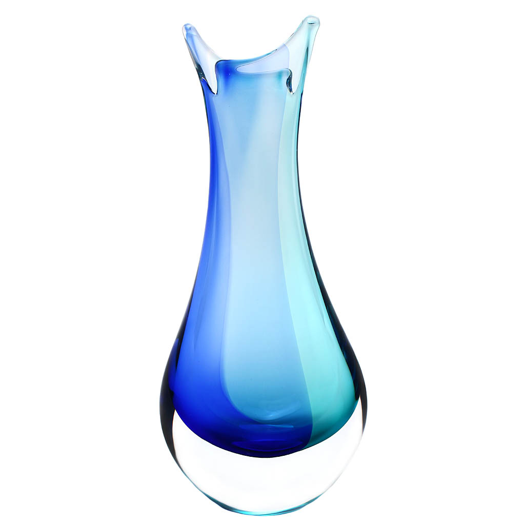 Art Glass Vase 09, AQUA - Blue and turquoise