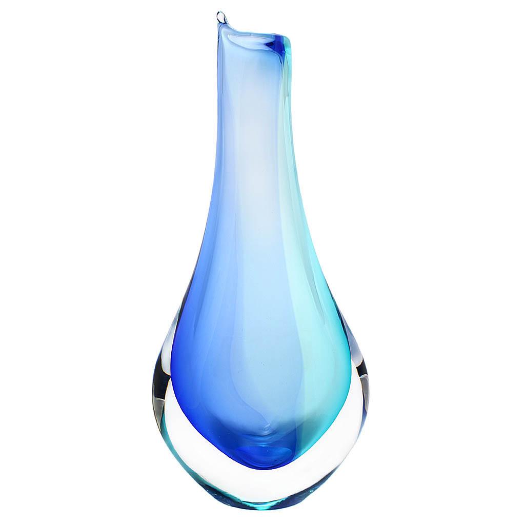 Art Glass Vase 02, AQUA - Blue and turquoise