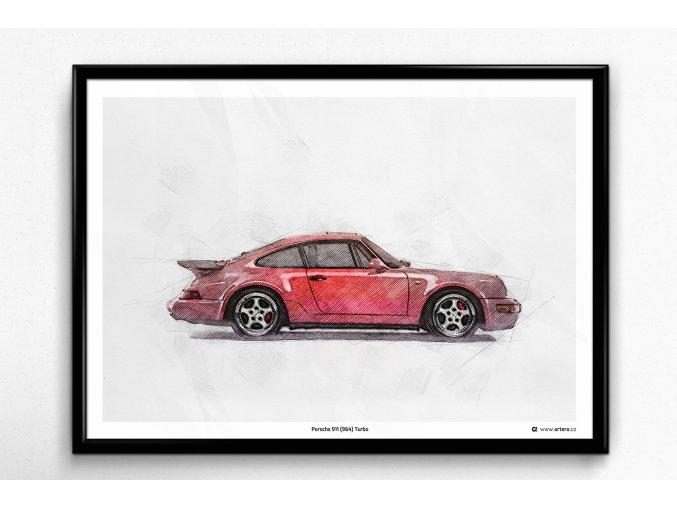 Porsche 911 (964) Turbo - plakát, obraz na zeď